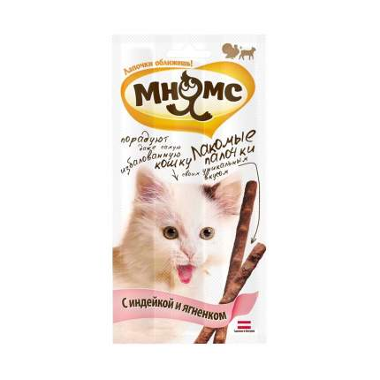 Лакомство для кошек Мнямс Лакомые палочки, индейка, ягненок, 3 шт, 20 г