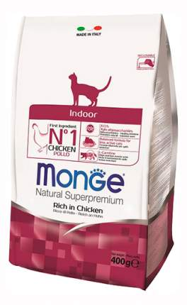 Сухой корм для кошек Monge Indoor, для домашних, курица, 0,4кг