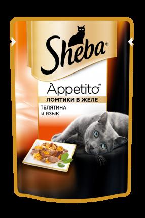 Влажный корм для кошек Sheba Appetito из телятины и языка, 24шт по 85г