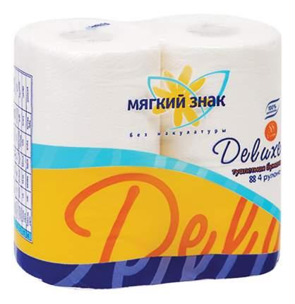 Туалетная бумага Мягкий знак Deluxe белая с рисунком двухйслойная 4 шт.