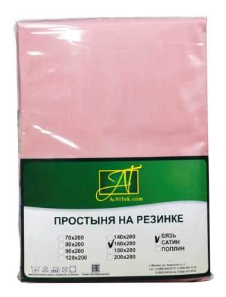 Простыня АльВиТек Бязь Импортная 140х200+25 см розовый