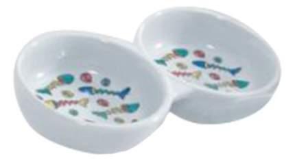 Двойная миска для кошек Beeztees, керамика, белый, 2 шт по 0.1 л