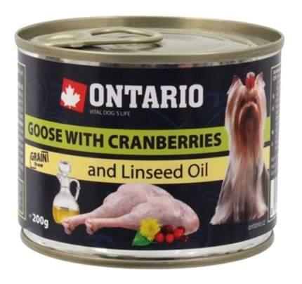 Консервы для собак Ontario, для мелких пород, гусь и клюква, 200г