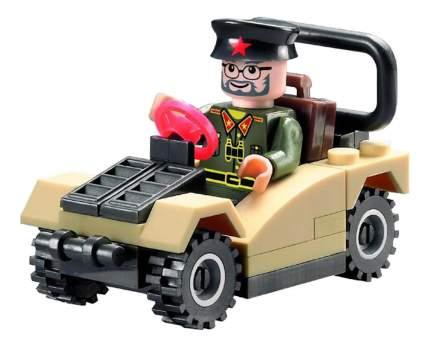 Конструктор пластиковый Brick Военный джип с фигуркой