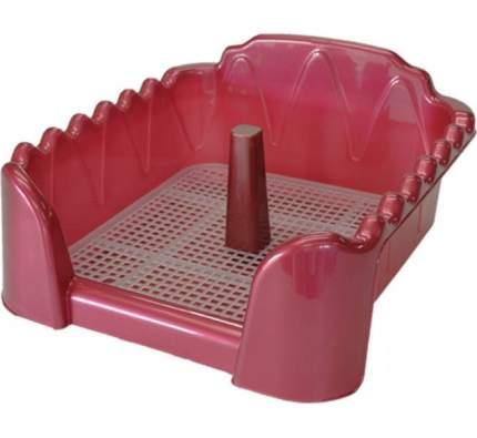 Туалет для собак HOMEPET со столбиком, красный, 50х40х16 см