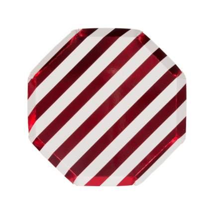Тарелки красные блестящие полоски маленькие
