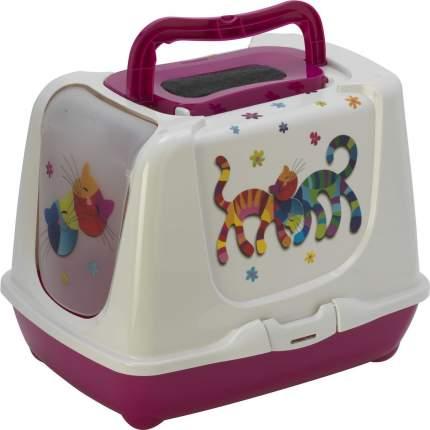 Туалет для кошек MODERNA Trendy Cat Друзья Навсегда, прямоугольный, розовый, 57х45х42,6см