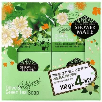 Мыло косметическое Shower Mate Оливки и зеленый чай 4шт *100г