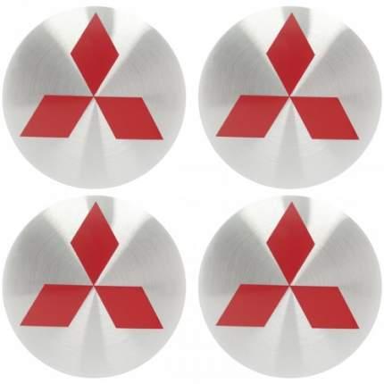 Наклейки на диски литые с логотипом автомобиля Митсубиси 12050021 D-56 мм серебристые