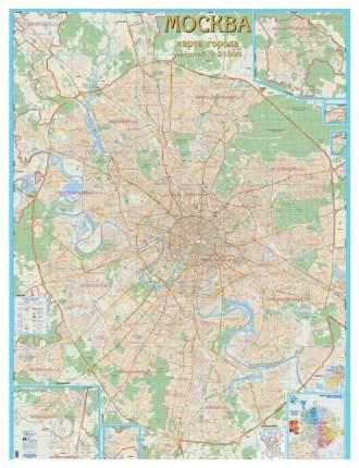 Настенная карта Атлас Принт «Москва с каждым домом» 1:21тыс. 155x206 см