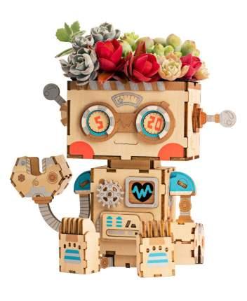 3d деревянный пазл robotime кашпо робот ft761