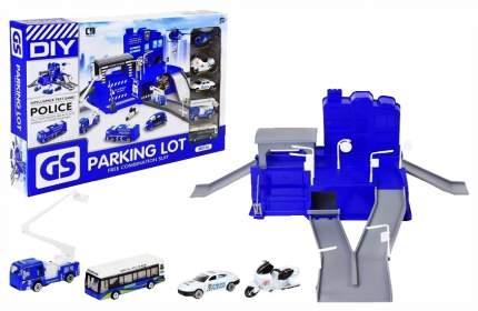 Гараж игрушечный Наша игрушка Полиция автотехника 4 шт. Вертолет 1 шт. аксессуары