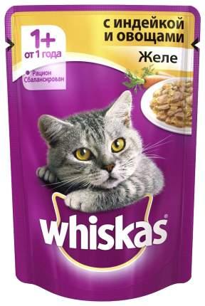 Влажный корм для кошек Whiskas Желе с индейкой и овощами, 24шт, 85 г