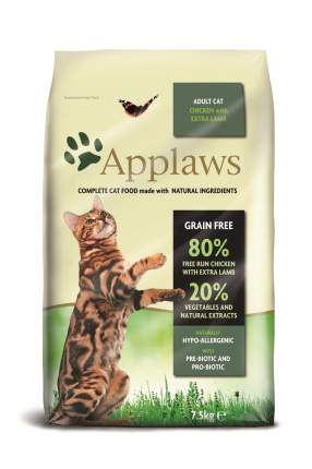 Сухой корм для кошек Applaws, беззерновой, курица, ягненок, 7,5кг