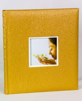 """Фотоальбом """"Золотистый"""" с окошком для своего фото, 60 страниц 28х32 см, под уголки"""