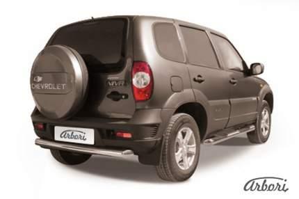 Защита заднего бампера d76 радиусная Arbori для Chevrolet NIVA 2010