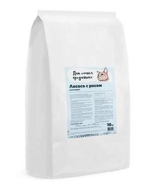 Сухой корм для кошек Для самых преданных, лосось с рисом, 10кг