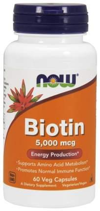 Витамин B7 NOW Biotin 60 капс. без вкуса