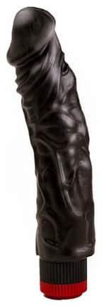 Реалистичный чёрный вибромассажер 19,5 см