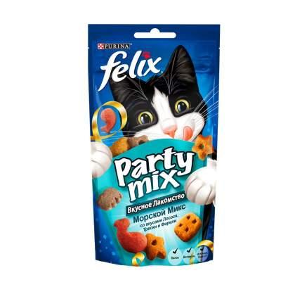 Лакомство для кошек Felix Party Mix Морской микс с лосося и трески, 60 г x 8 шт.