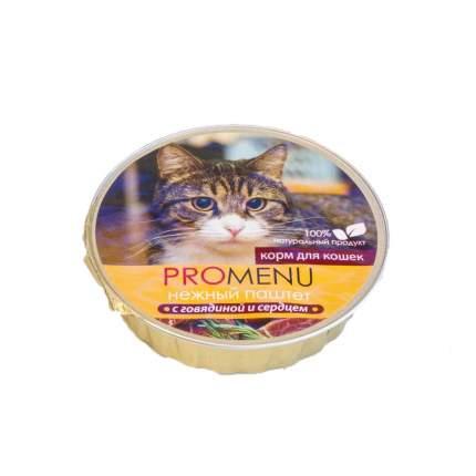 Консервы для кошек Pro Menu Нежный паштет, говядина и сердце, 70г