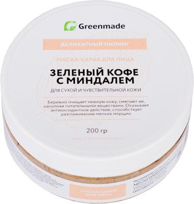Маска-скраб для лица Зеленый Кофе с Миндалем GreenMade для сухой и чувствительной кожи