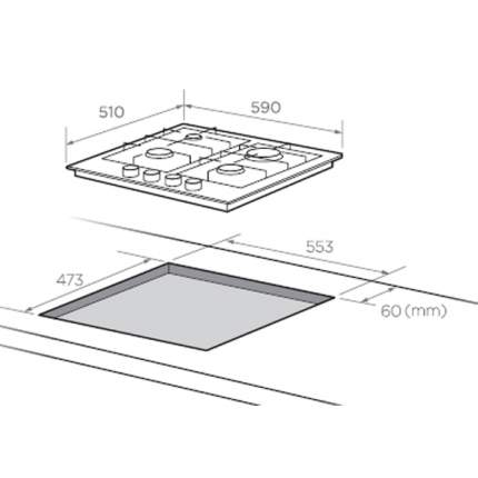 Встраиваемая варочная панель газовая Midea Q402GFD-RW White