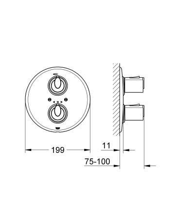 Смеситель для встраиваемой системы Grohe Grohtherm 1000+ 19236000 серебристый