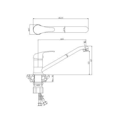 Смеситель для кухонной мойки Rossinka Silvermix Y35-21U хром