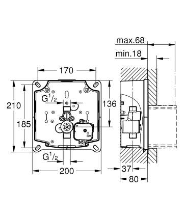 Комплект монтажа для панелей смыва Tectron GROHE Rapido U