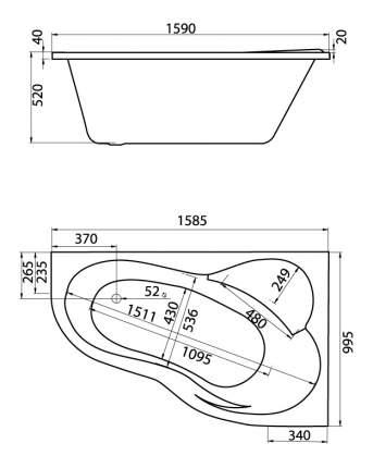Акриловая ванна Santek Ибица XL 160х100 без гидромассажа правая