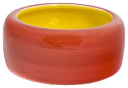 Одинарная миска для кошек и собак Triol, керамика, желтый, красный, 0.25 л