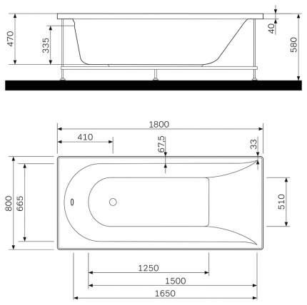 Акриловая ванна AM.PM Inspire 180х80 без гидромассажа