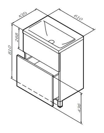 Тумба для комплекта Am.Pm Gem 60 белый глянец, с 2 ящиками