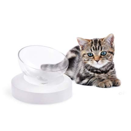 Миска для собак и кошек Nicovaer Будущее, интерактивная, белая, 300 мл