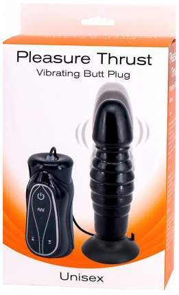 Чёрный анальный вибратор на присоске Pleasure Thrust 14 см