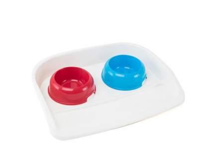 Набор мисок для кошек и собак Ferplast, пластик, красный, голубой, бежевый, 2 шт. по 0,5 л