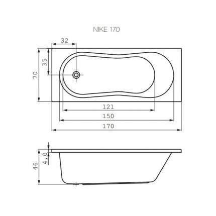 Акриловая ванна Cersanit WP-NIKE*170-W