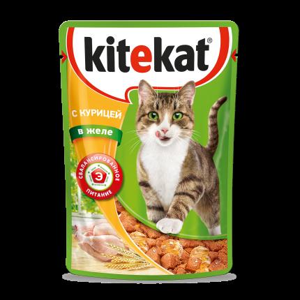 Влажный корм для кошек Kitekat c сочными кусочками курицы в желе, 85 г