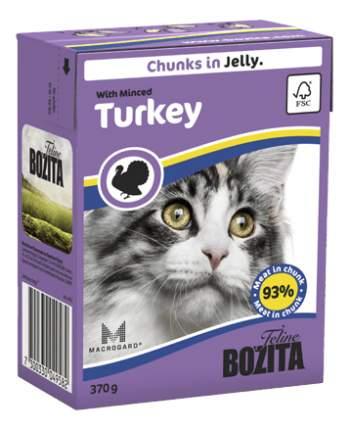 Консервы для кошек BOZITA Feline Chunks In Jelly, с рубленой индейкой в желе, 16шт по 370г