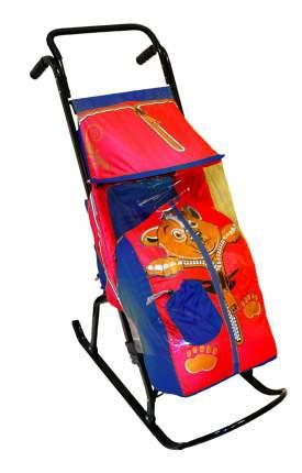 Санки-коляска Скользяшки сине-красный Медвежонок Снегурочка