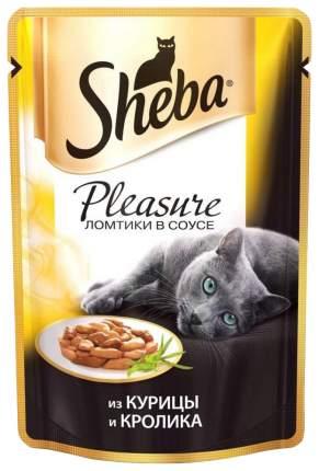 Влажный корм для кошек Sheba Pleasure ломтики из курицы и кролика в соусе, 24 шт по 85г