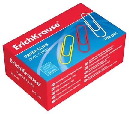 Скрепки Erich Krause металлические с цветным пластиковым покрытием 33мм 100шт*4уп
