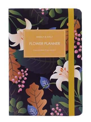 Планер с Цветочками с резинкой формат А5 темно-синий
