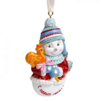Елочная игрушка Феникс Present снеговик, 5,5х1,5х8 см