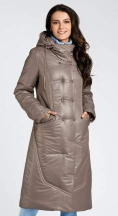 Пуховик женский D`imma fashion studio 2029 коричневый 56 EU