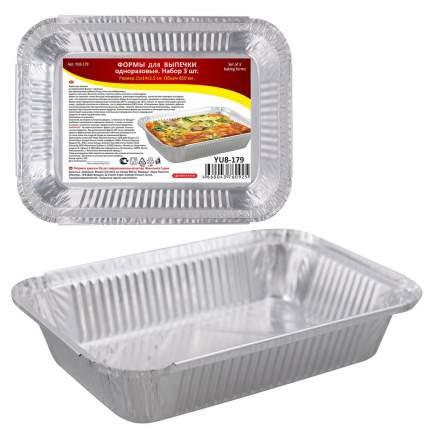 Формы для выпечки одноразовая  Н-р 3шт. 21х14х3,5см (850мл, алюминий)