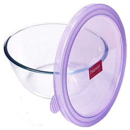 Миска стеклянная с пластиковой крышкой Fissman 6527 Фиолетовый