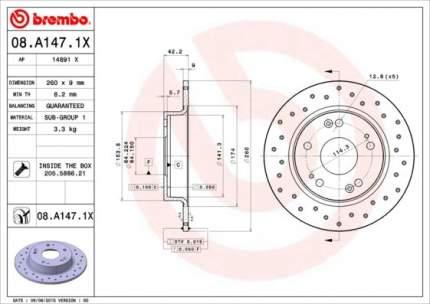 Тормозной диск brembo 08.A147.1X