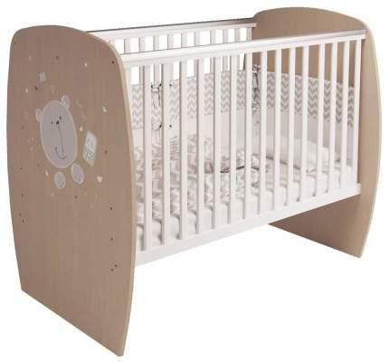 Кроватка детская Polini Kids French 700 Teddy белый Дуб пастельный